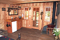 Cowboy cabin kitchen and stove